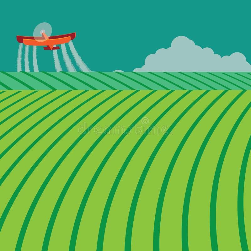 Опылитель полей распыляя токсические химикаты иллюстрация штока