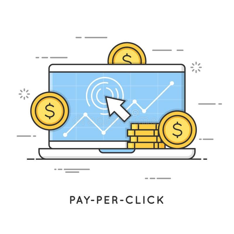 Оплата согласно с щелчок, маркетинг интернета Плоская линия концепция стиля искусства бесплатная иллюстрация