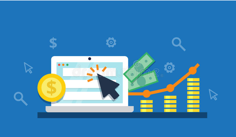 Оплатите согласно с концепция маркетинга интернета щелчка - плоская иллюстрация Реклама и преобразование PPC бесплатная иллюстрация