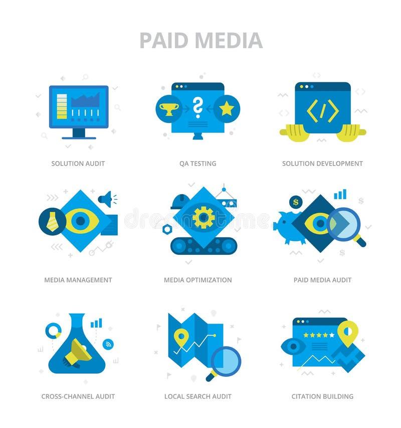 Оплаченные средства массовой информации плоские значки иллюстрация вектора
