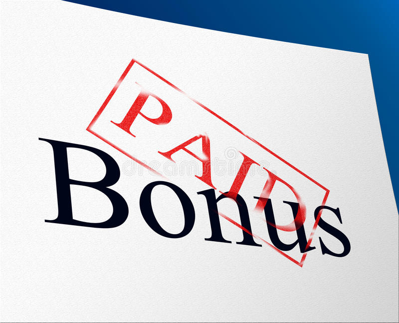Оплаченный бонус показывает бесплатно и бесплатно иллюстрация вектора