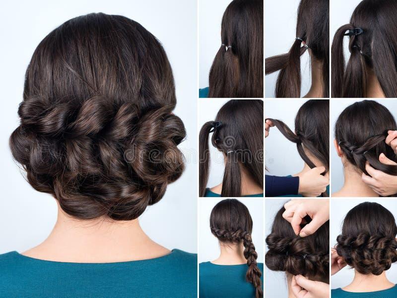 Оплетка стиля причёсок для длинной консультации волос стоковое изображение