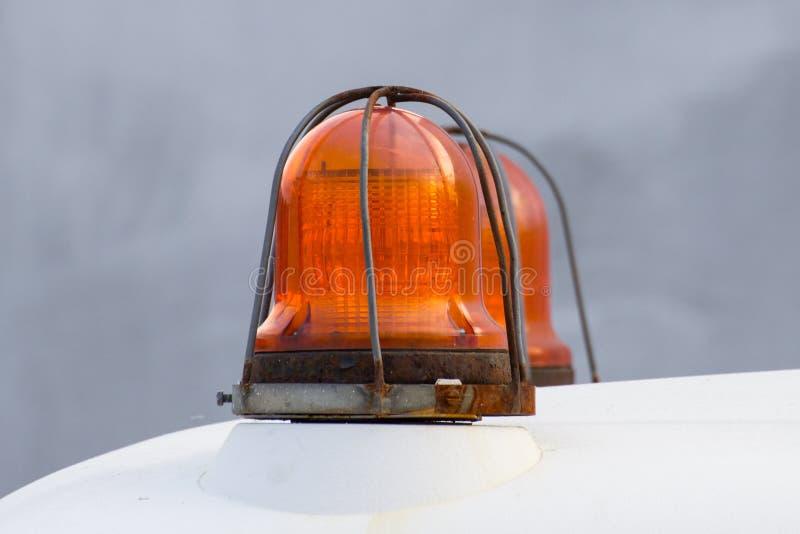 Оранжевая лампа сигнала сирены для предупреждения стоковые фотографии rf