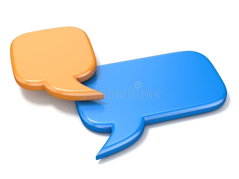 Оранжевая и голубая квадратная пустая речь клокочет 3D иллюстрация штока