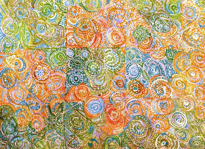 Оранжевая и зеленая Handmade абстрактная предпосылка иллюстрация вектора