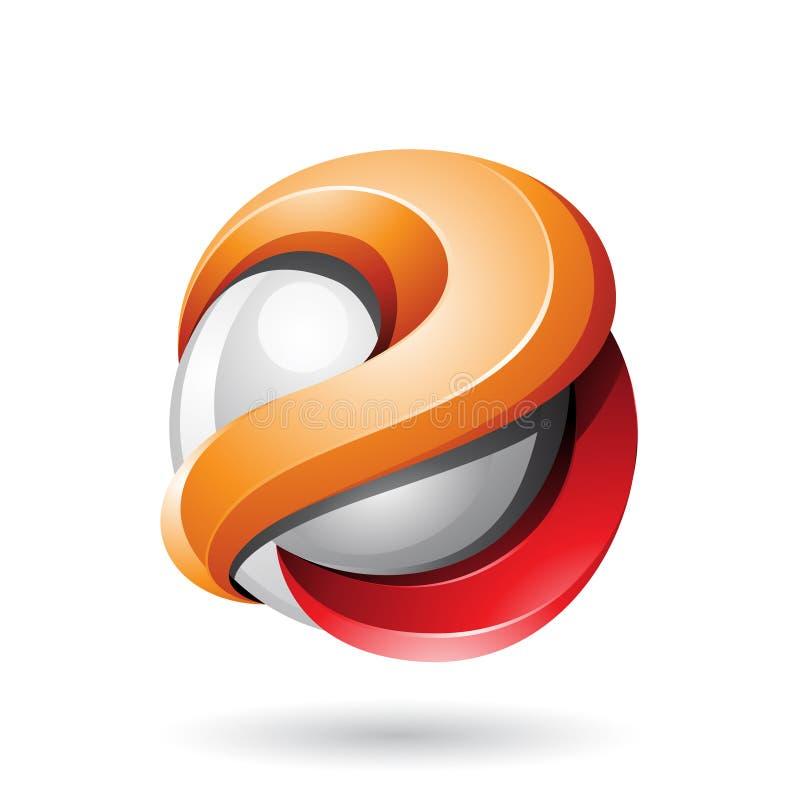 Оранжевая и красная смелая металлическая лоснистая сфера 3d изолированная на белой предпосылке бесплатная иллюстрация