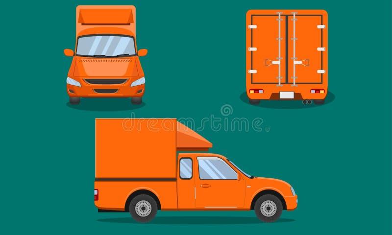 Оранжевая кабина грузового пикапа доставки с переходом Чиангмаем взгляда лицевой стороны пассажира обложки стальной скрежетать ав иллюстрация вектора