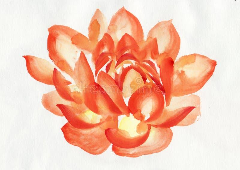Оранжевая картина акварели цветка лотоса иллюстрация штока