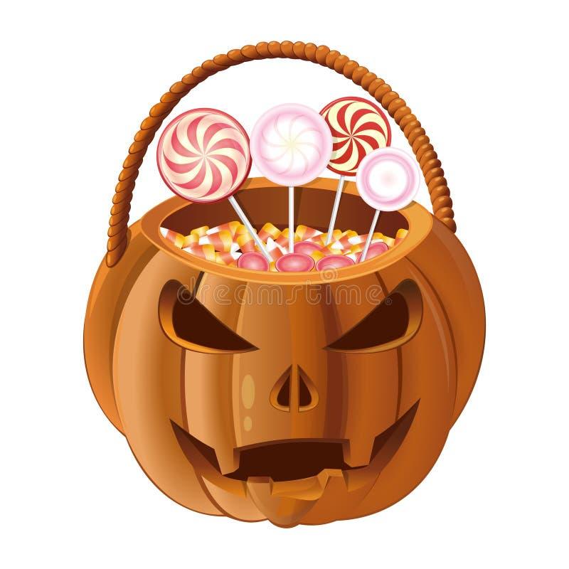Оранжевая корзина тыквы для того чтобы собрать конфету на хеллоуине бесплатная иллюстрация