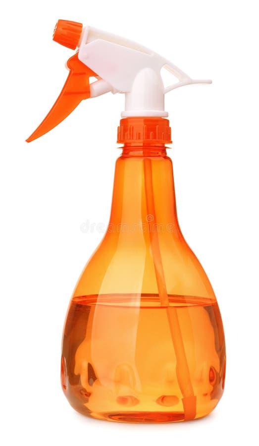Оранжевая пластичная бутылка брызга стоковое изображение rf