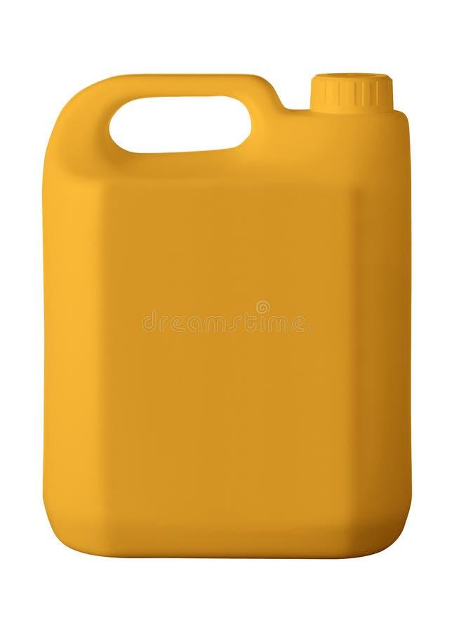 Оранжевая пластичная канистра на белизне стоковое изображение rf