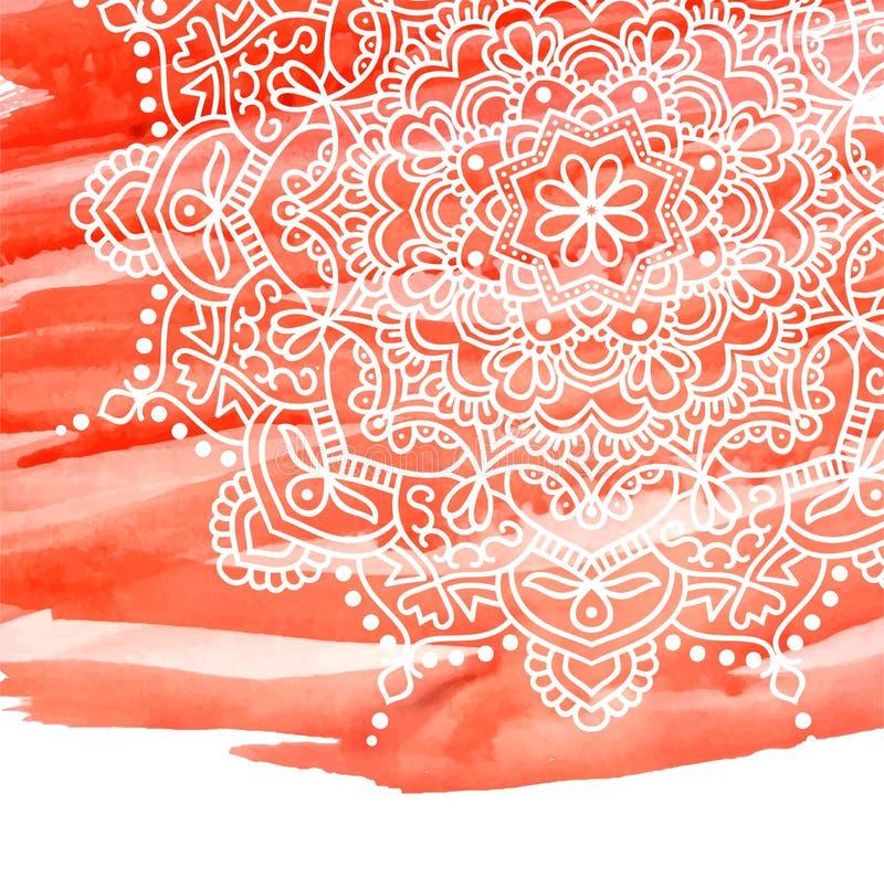 Оранжевая предпосылка краски акварели с белой рукой нарисованной вокруг doodles и мандал дизайн фона иллюстрация штока