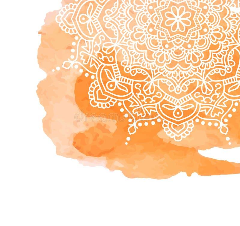 Оранжевая предпосылка краски акварели с белой рукой нарисованной вокруг doodles и мандал дизайн фона бесплатная иллюстрация