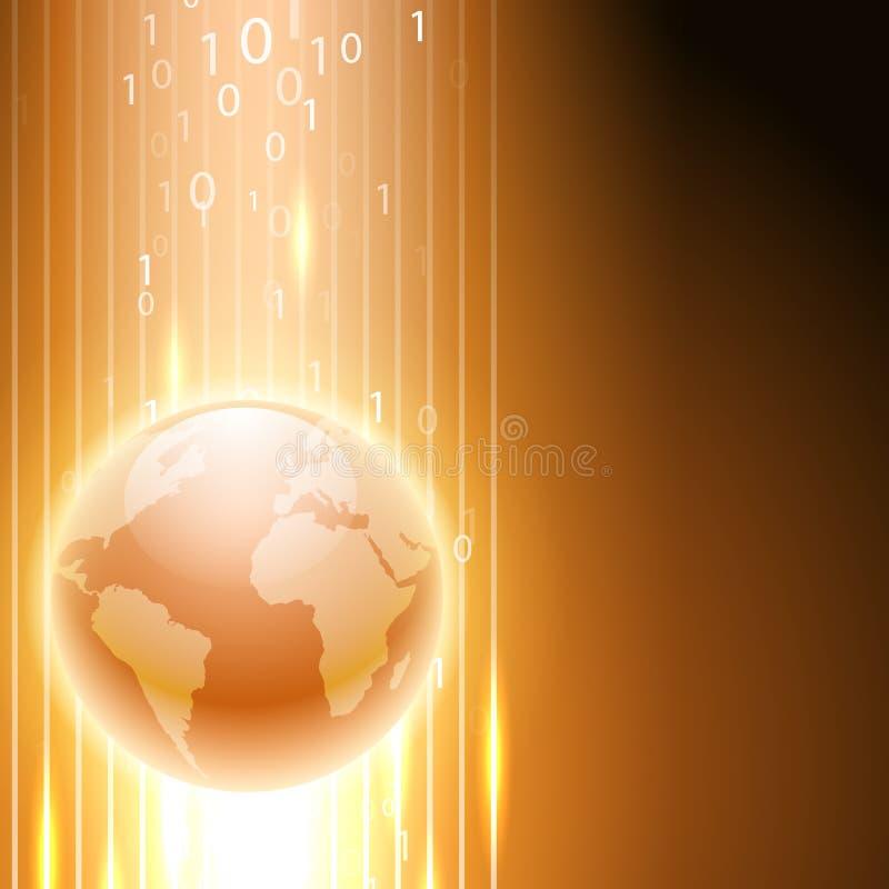 Оранжевая предпосылка с бинарным кодом к глобусу иллюстрация штока