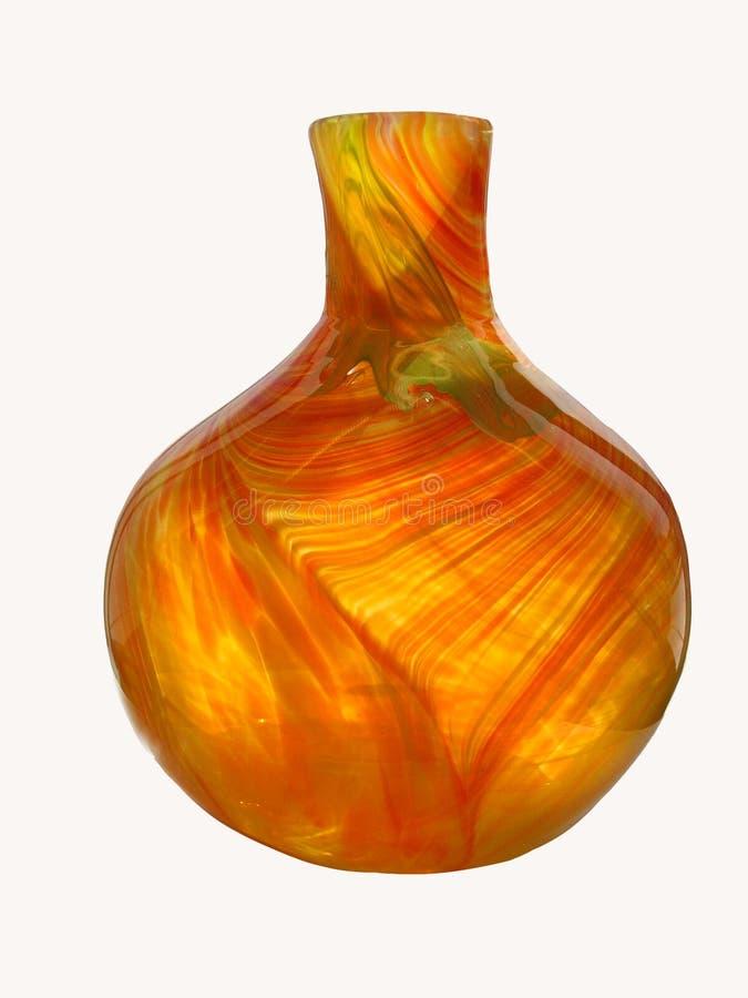 Оранжевая стеклянная ваза на предпосылке Whtie стоковые изображения