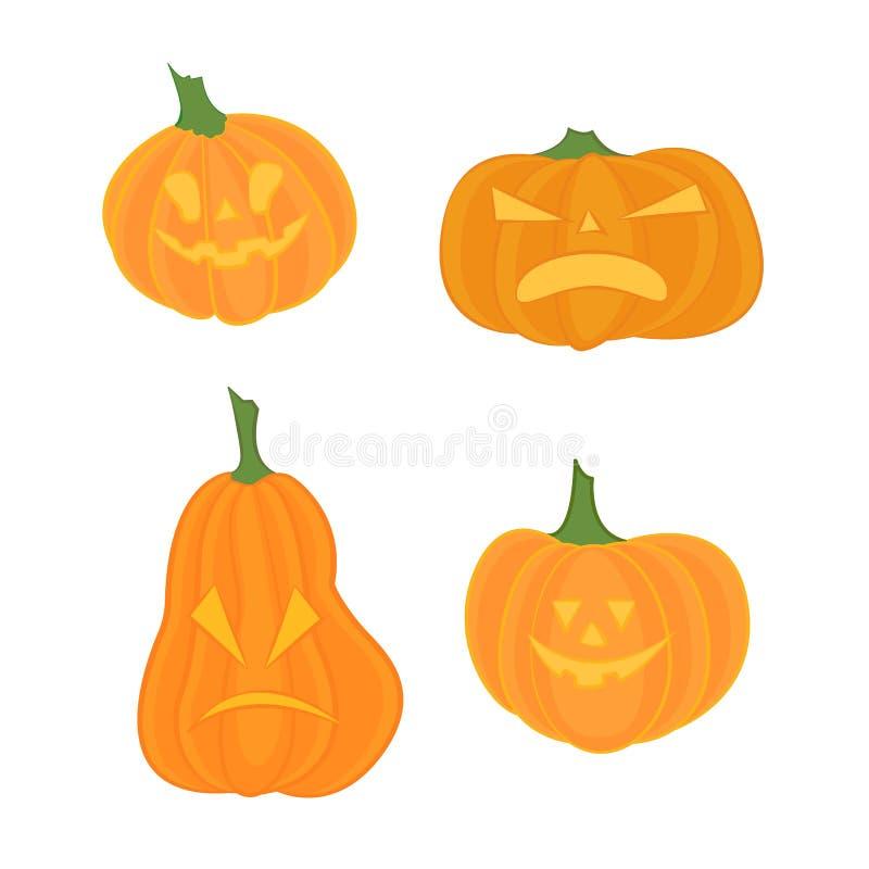 Оранжевая страшная тыква в тонкой линии плоском стиле Торжество хеллоуина также вектор иллюстрации притяжки corel иллюстрация вектора