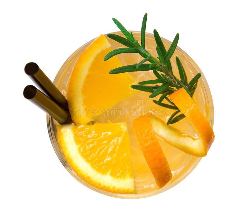 Оранжевое взгляд сверху коктеиля изолированное на белой предпосылке, закрепляя стоковое изображение rf