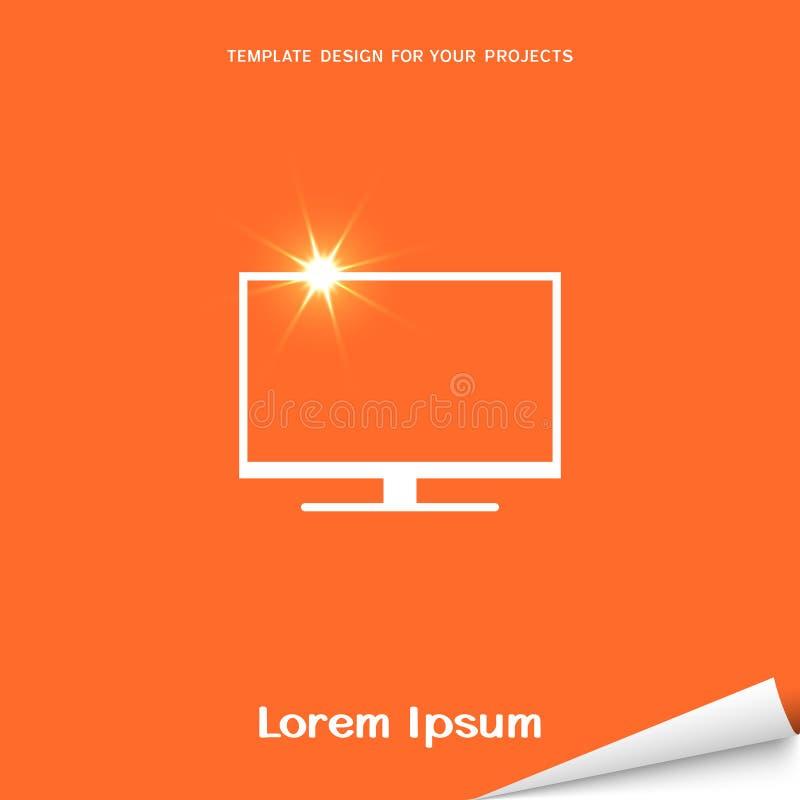 Оранжевое знамя с значком экрана lcd бесплатная иллюстрация