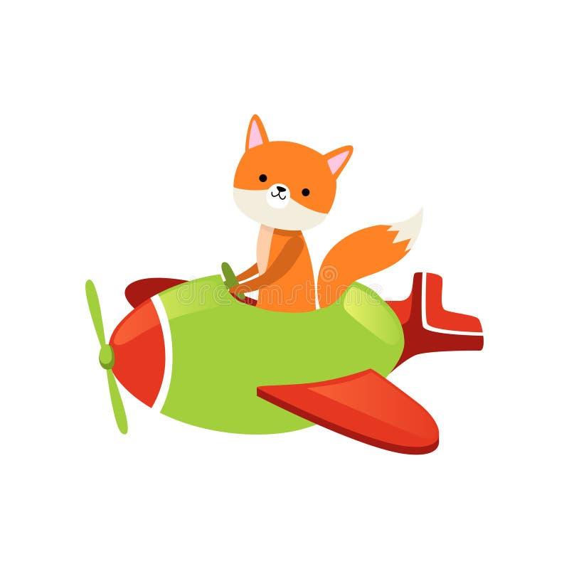 Оранжевое летание лисы на меньшем зеленом самолете Персонаж из мультфильма одичалого животного леса Милый пилот самолета Плоский  иллюстрация вектора