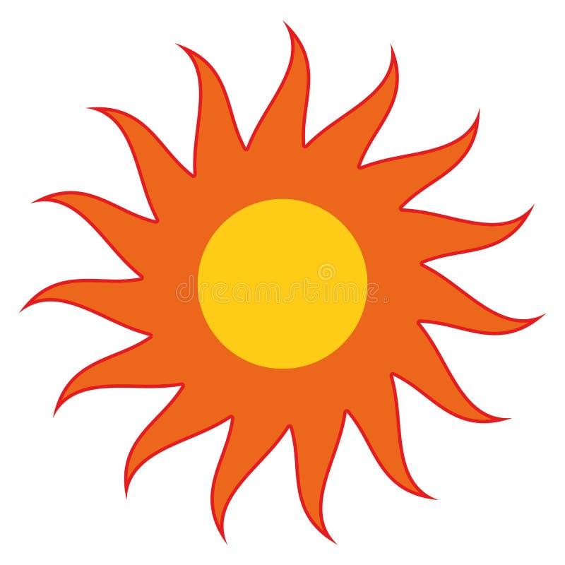 Оранжевое Солнце с красным вектором eps10 лучей Желтое солнце с лучами иллюстрация вектора