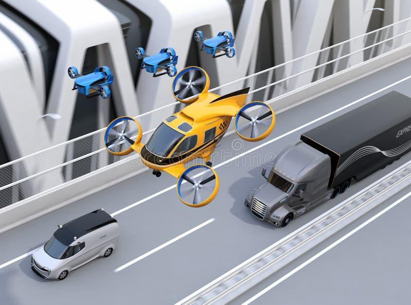 Оранжевое такси трутня пассажира, флот трутней поставки летая вместе с тележкой управляя на шоссе иллюстрация штока