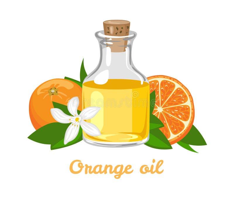 Оранжевое эфирное масло в стеклянной бутылке Ароматерапия иллюстрация вектора