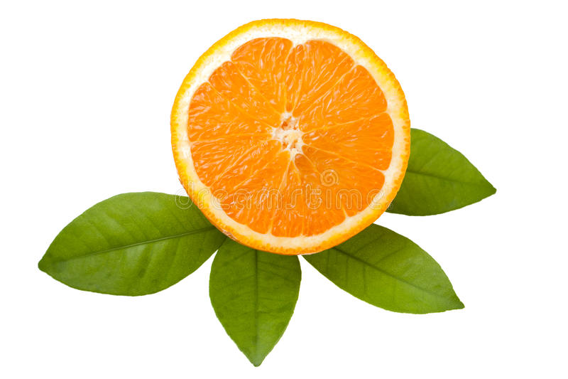 Download Оранжевые лист куска и апельсина изолированные на белой предпосылке Стоковое Изображение - изображение насчитывающей отрезано, отрезок: 40591231