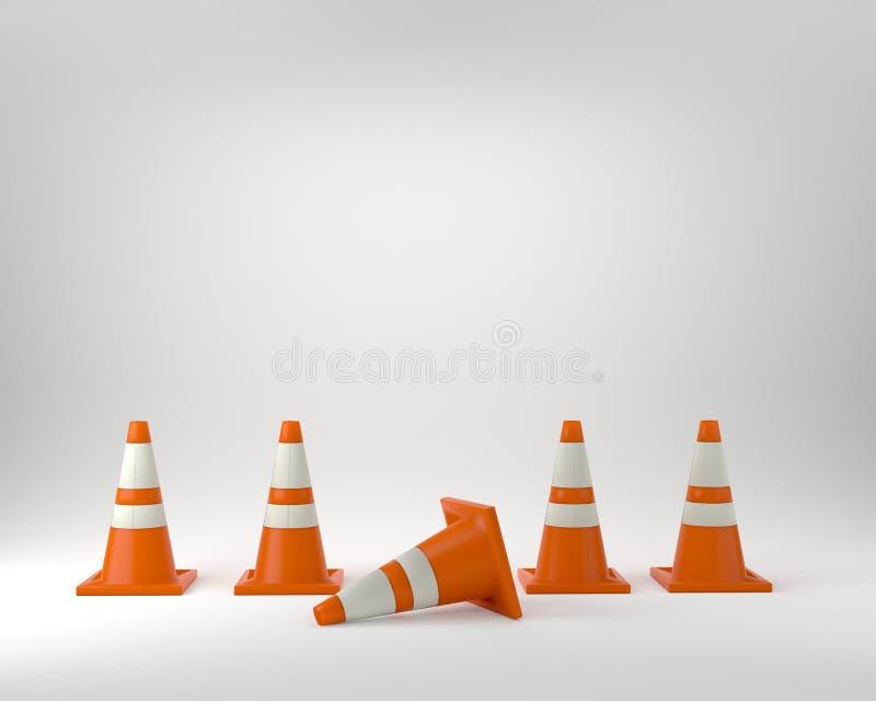 Оранжевые конусы движения под иллюстрацией студии 3D конструкции бесплатная иллюстрация