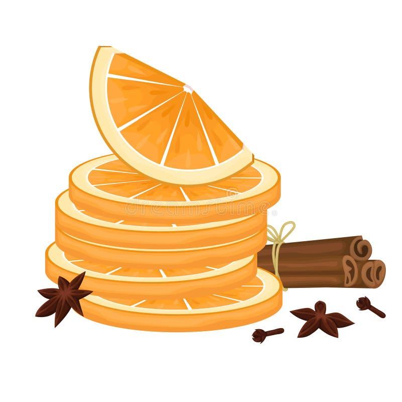 Оранжевые куски Ручки циннамона связанные с веревочкой, гвоздиками и анисовкой звезды Специи для обдумыванного вина иллюстрация вектора
