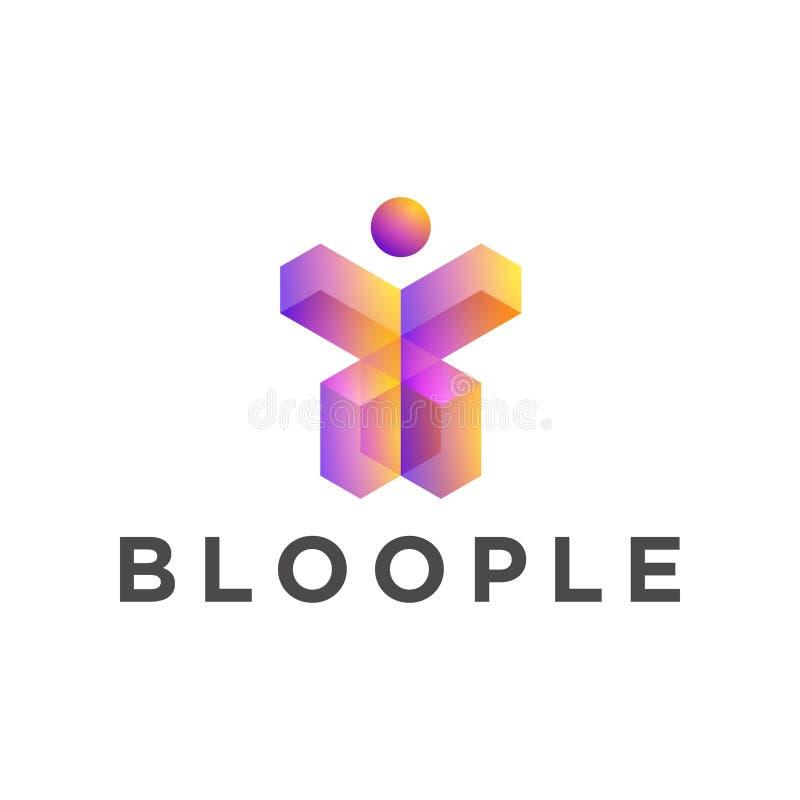 Оранжевые пурпурные цвета градиента, шаблон логотипа формы 3d людей геометрический иллюстрация вектора
