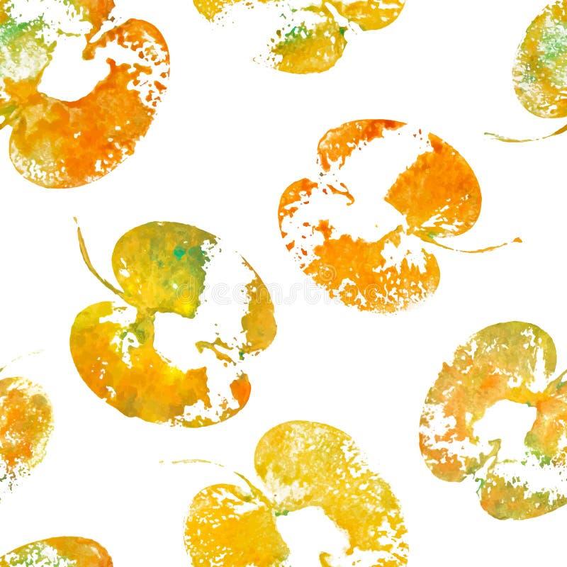 Оранжевые уменьшанные вдвое яблоки покрасили акварель, текстурированные печати Картина лета безшовная с отпечатками яблок Handmad иллюстрация штока