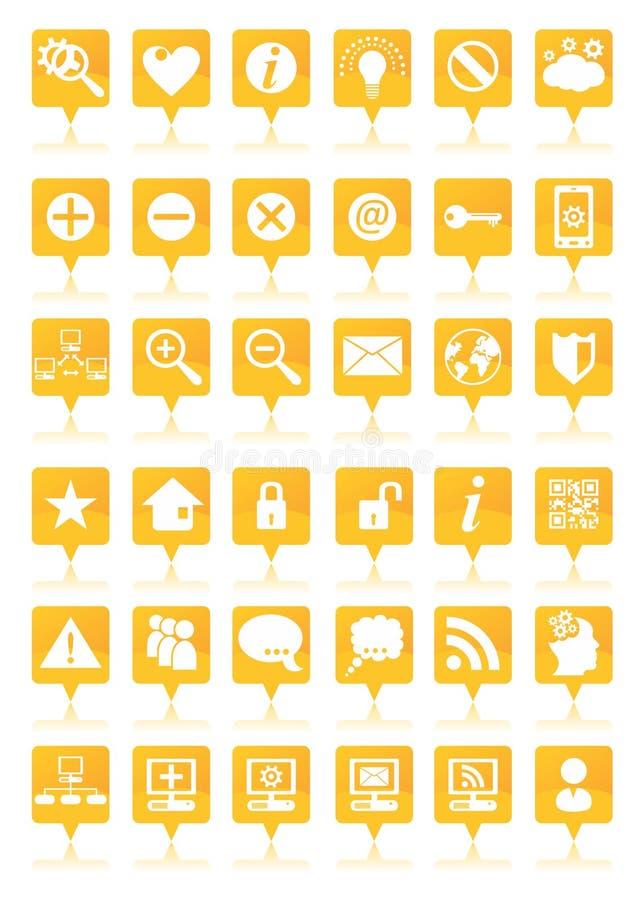 Оранжевые установленные значки сети иллюстрация штока
