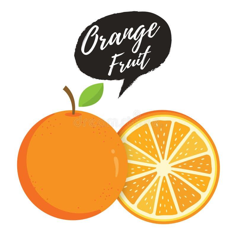 Оранжевые целый и кусок апельсинов иллюстрация вектора