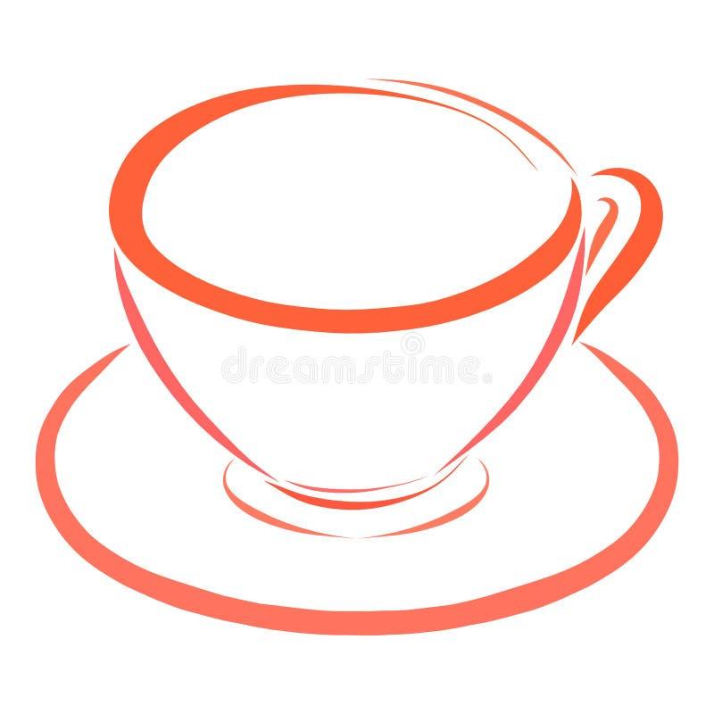 Оранжевые чашка и поддонник, блюда иллюстрация штока