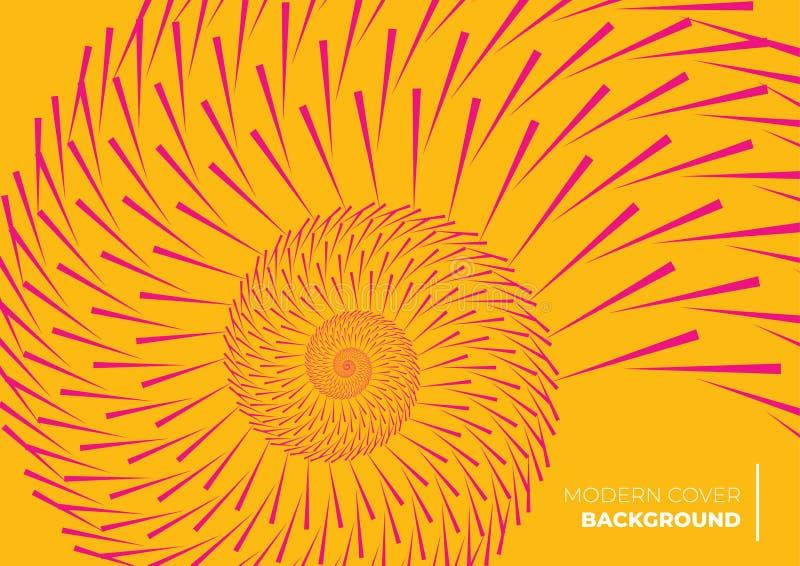 Оранжевый абстрактный дизайн крышки формируя спиральную картину иллюстрация штока