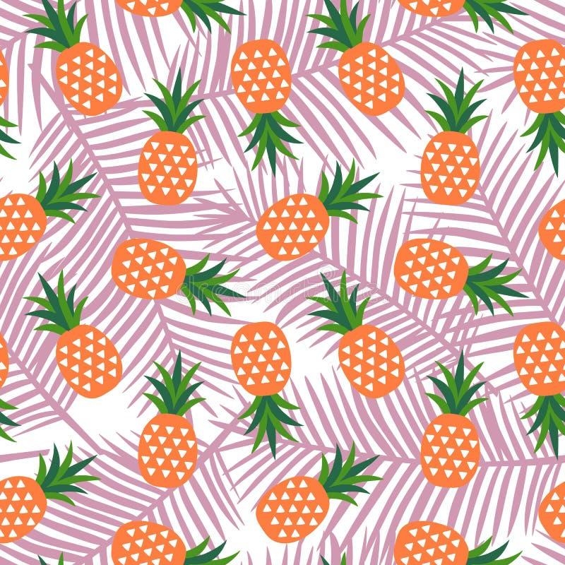 Оранжевый ананас с летом плодоовощ треугольников геометрическим тропическим бесплатная иллюстрация