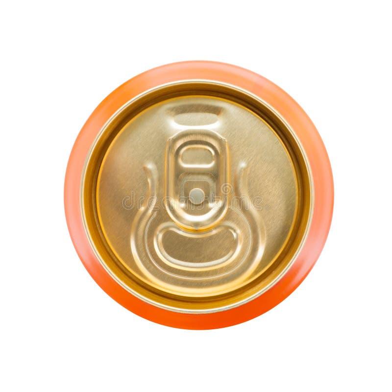 Оранжевый безалкогольный напиток может стоковое изображение