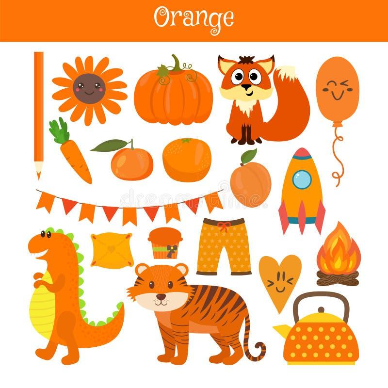 Оранжевый Выучите цвет Комплект образования Иллюстрация основного бесплатная иллюстрация