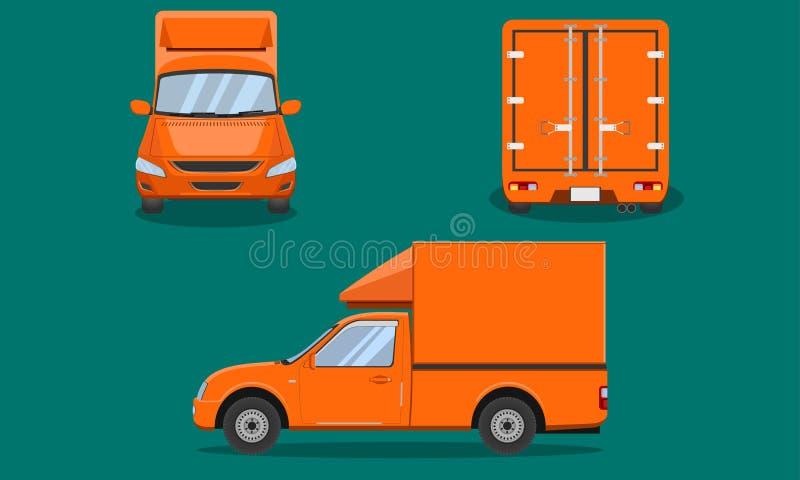 Оранжевый грузовой пикап доставки с вектором Чиангмая перехода взгляда лицевой стороны пассажира обложки стальной скрежетать авто иллюстрация вектора