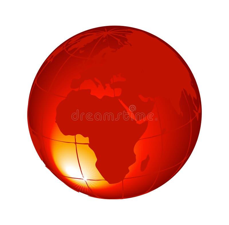 оранжевый глобус 3d изолированный на белом векторе предпосылки иллюстрация вектора