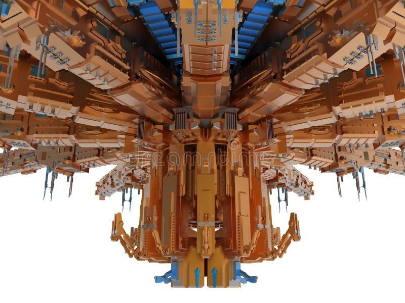 Оранжевый детальный космический корабль бесплатная иллюстрация