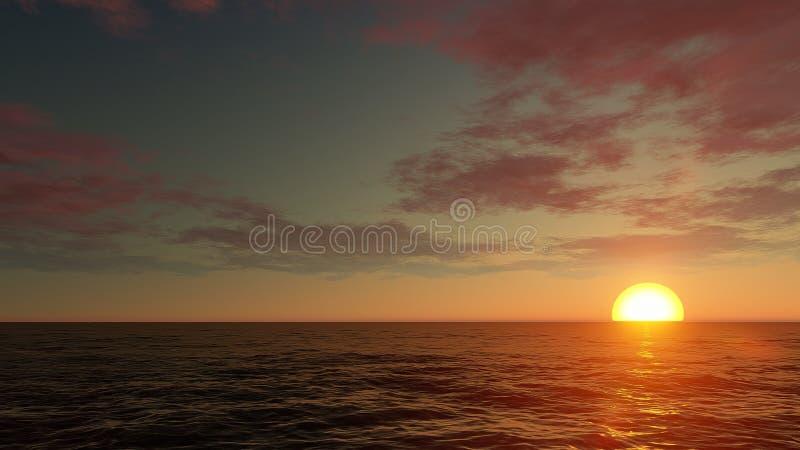 Оранжевый заход солнца выходит море стоковые изображения rf