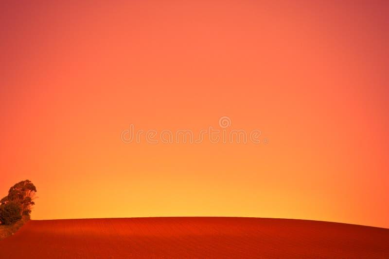 Оранжевый заход солнца над обрабатываемой землей стоковое изображение rf