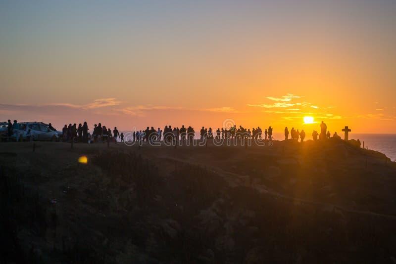 Download Оранжевый заход солнца на пляже Стоковое Фото - изображение: 92418630