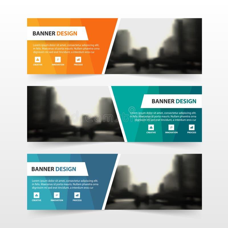 Оранжевый зеленый голубой шаблон знамени корпоративного бизнеса полигона, дизайн горизонтального шаблона плана знамени дела рекла иллюстрация вектора