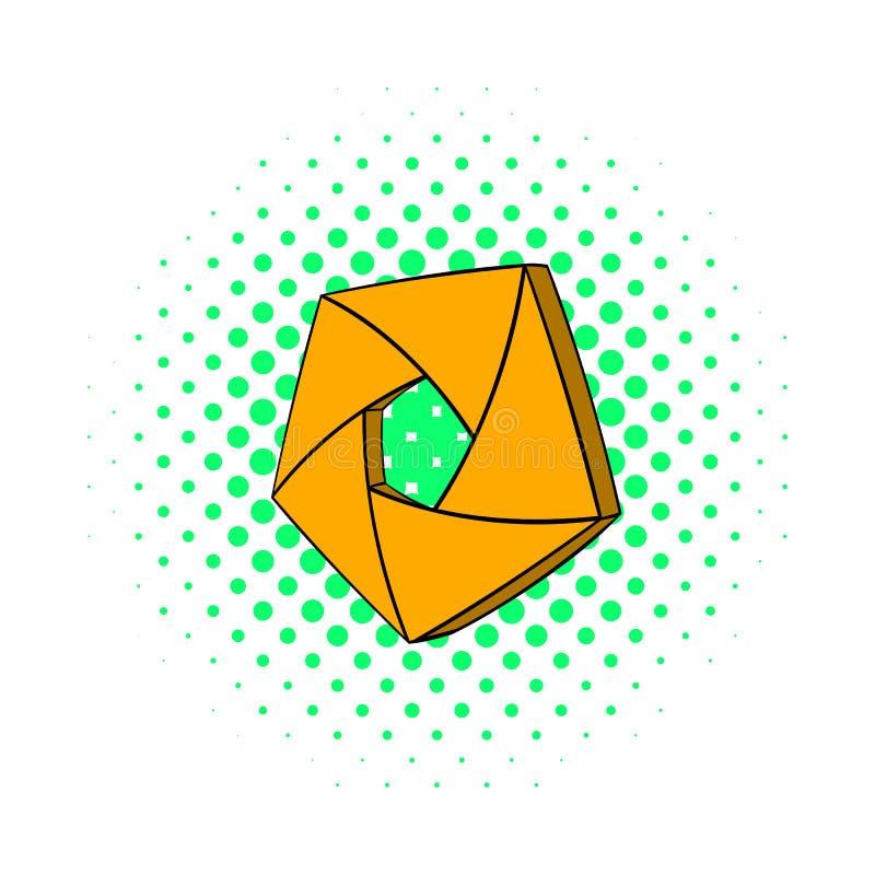 Оранжевый значок апертуры камеры, стиль комиксов иллюстрация вектора