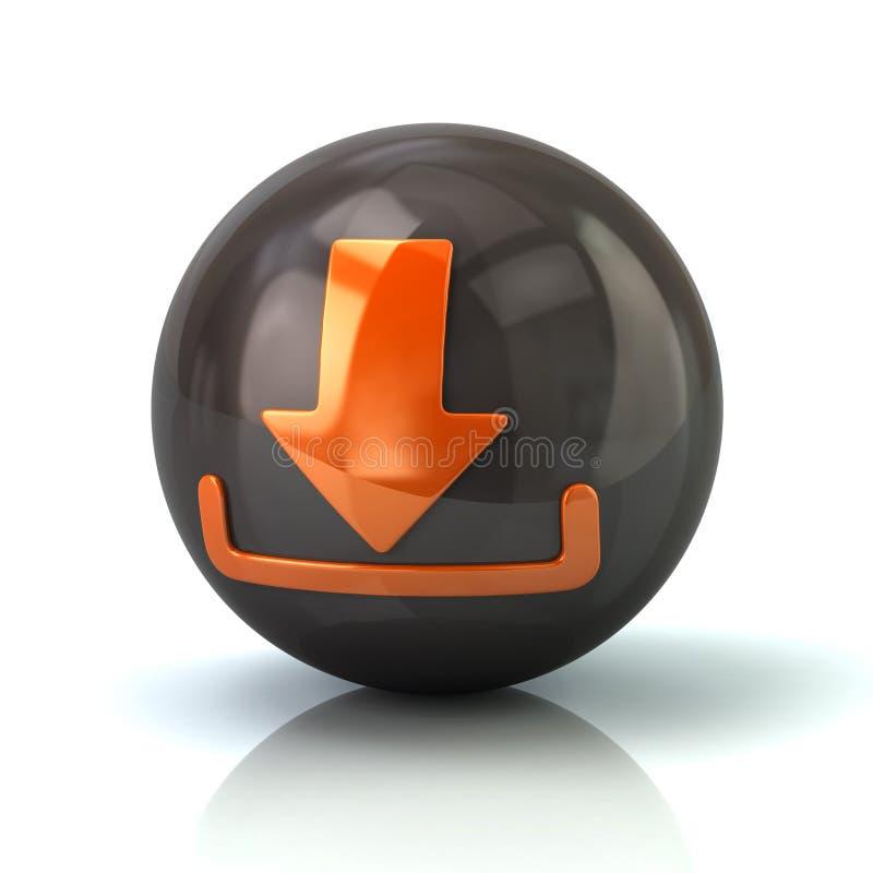 Оранжевый значок загрузки на черной лоснистой сфере иллюстрация штока