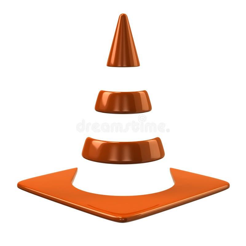 Оранжевый значок конуса движения иллюстрация штока
