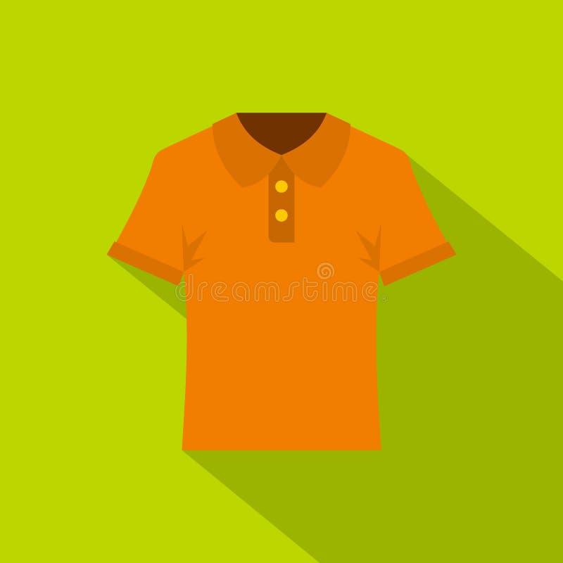 Оранжевый значок рубашки поло людей, плоский стиль иллюстрация штока