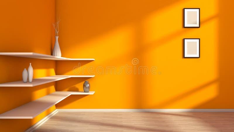 Оранжевый интерьер с белыми полкой и вазами иллюстрация штока